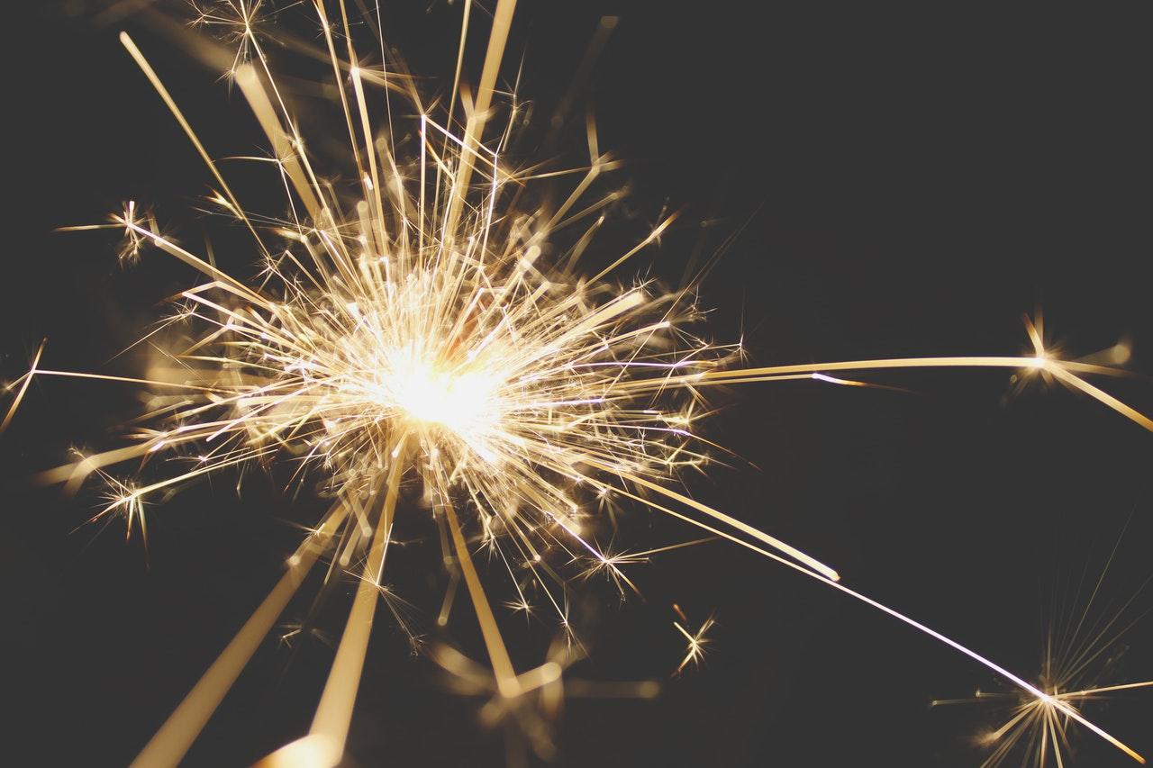 sparkler at night